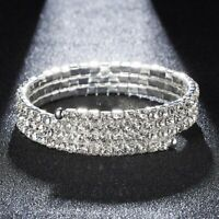 Fashion Women Crystal Rhinestone Bracelet Bangle Wristband Wedding Bridal Gift