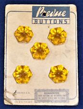 Vintage Sewing Buttons - Lot of 5 Carded Amber Colored Plastic Flower Shaped