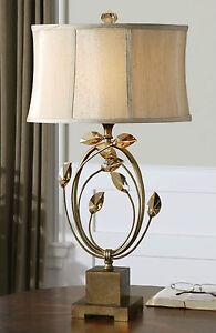 "ALENYA 29"" BURNISHED GOLD METAL TABLE LAMP TEAK CRYSTAL LEAVES OVAL SHADE"