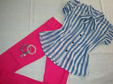 stripe blue and white puff sleeves bowknot blouse pink leggings pants terno