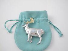 18K Gold Deer Elk Brooch! Tiffany & Co Rare Silver