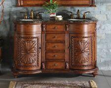 "54"" Lavatory Dual Sink Cabinet Granite Stone Top Bathroom Double Vanity 201BB"