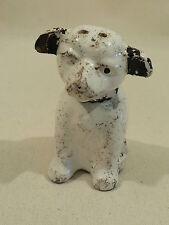 Old vintage ceramic dog salt shaker aged
