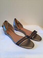 New Renvy Light Gold Open Toe  Ankle Strap Size 6M D'Orsay Flat Sandal