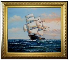 Framed, Sailing Ship 22, Quality Hand Painted Oil Painting 20x24in