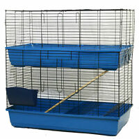 DOUBLE DECKER LARGE INDOOR RABBIT GUINEA PIG SMALL ANIMAL CAGE HUTCH RUN 100CM