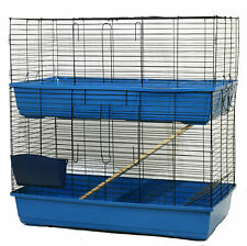 LARGE DOUBLE DECKER INDOOR RABBIT GUINEA PIG SMALL ANIMAL CAGE HUTCH RUN 100CM