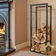 Firewood Log Rack Store Large Small Metal Shelf Stand Tall Steel Black 8 Sizes