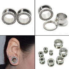 6/8/10/12/14mm Rhinestone Double Flare Flesh Tunnel Ear Stretcher Plug Expander
