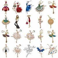 Dancer Girl Brooch Pin Crystal Rhinestone Pearl Women Wedding Jewellery Gifts