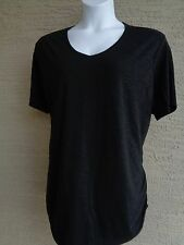 Just My Size Cotton Blend Shirred Sides V Neck Tee Shirt  Heather Fabric 3X