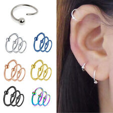 Surgical Steel Nose Ring Septum Hoop Cartilage Tragus Helix Small Thin Piercing