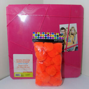 NEW Crazy String Pink Fabric Memo Message Photo Board w. Pom Poms Home Office