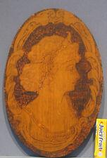 "1910 AUTHENTIC OLD PYRO ART ORIGINAL ART NOUVEAU LADY WALL PLAQUE 11 1/2"" OVAL"