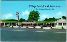 LONDON, Kentucky  KY    Roadside VILLAGE MOTEL Restaurant  c1950s   Postcard