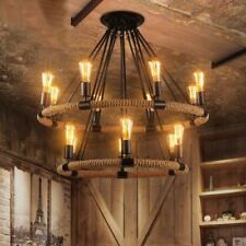Rustic Modern Vintage Retro Industrial Hemp Rope Metal 2 Tier Chandelier Light
