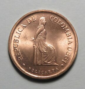 1980 Colombia 5 Pesos Policarpa Bronze Unc World Coin South America Luster