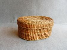 "Woven Grass Basket Oval Lid 7 3/4""x 6""x 3 1/2"" Brown Orange Vintage Sewing"