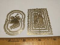 """2 CHRISTMAS ORNAMENTS """"ANGEL& HORN"""" + """"CANDLES""""=VTG GOLD-TONE/Thin Die-Cut BRASS"""