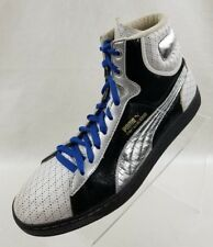 Puma Vtg Basketball Sneakers Hi Top First Round MBBQ White Black Silver Sz 10.5