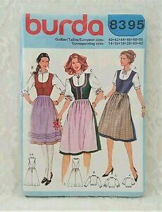 Vtg BURDA 8395 Dirndl Dress Pattern~German/Austrian/Swiss Oktoberfest Costume