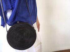 Black rattan handbag with lining, round rattan shoulder bag, evening basket bag