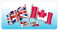 "Canadian & Union Jack Flags Decal Bumper Sticker Personalize Gifts 3.5"" x 6"""