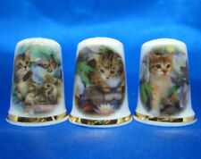 Birchcroft China Thimbles -- Set of Three -- Kittens with Butterflies