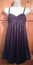 Topshop black satin strappy puff baby doll party evening dress UK 6