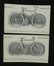 "2 Vintage Arnold Schwinn Bicycle Postcards ""World"" & ""Admiral"" -unused"