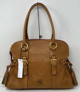 Dooney & Bourke Florentine Leather Domed Buckle Satchel ~ Natural