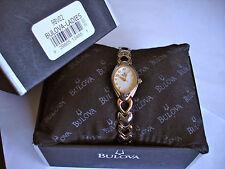 Bulova Oval Case Women's Two toned Heart Bracelet White Dial Watch 98V02