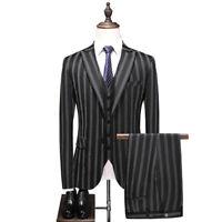 Black Stripe Men Peak Lapel Suit Groom Tuxedo Wedding Prom Party Dinner Suit