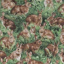 Realistic American Wildlife Rabbits Green Fabri-Quilt Fabrics #6372 By the Yard