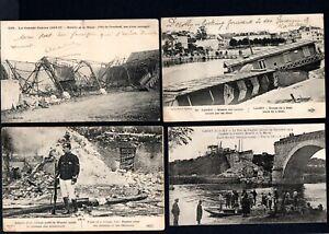 WW1 FRANCE - WAR DAMAGE - 4 POSTCARDS OF VARIOUS PLACES