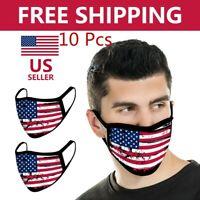 10 PCS Unisex American Flag Style Cotton Face Mask- Washable & Resuable USA