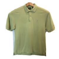 Izod Green S/S Silk Wash 100% Cotton Golf Polo Shirt Size Men's Medium