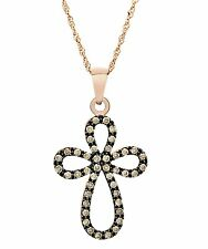 10 K Rose Gold 0.40 Ct Congac Diamond Cross Pendant with 10 K Rose Gold Chain.