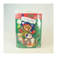 Tapestry Cross Stitch Christmas Tobaggan Trio Stocking Felt Applique Craft Kit