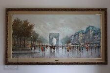 Large Antonio DeVity Vintage Oil Painting Paris Street Scene Arc de Triomphe