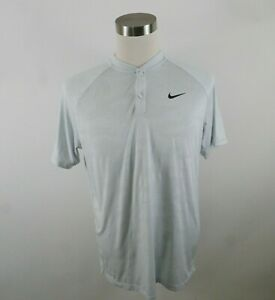 Nike Golf Mens Polyester Zonal Cooling SS Gray Abstract Henley T Shirt Large