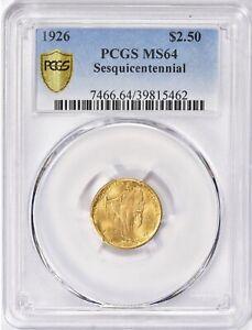 🛡Blue Holder 🌊 🇺🇸 1926 Sesquicentennial Commemrative Gold PCGS MS-64