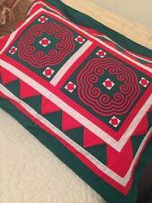Quilted Pillow Sham Geometric Red Green Handmade Standard Size Zipper Elegant