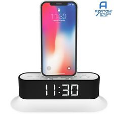 iPhone X 8 8+ 7 6 5 Dock Radio Alarm iPod Touch nano AZATOM Chronos 2 White