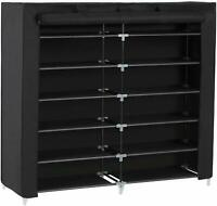 """45"""" 7 Tiers Portable Shoe Rack Closet with Fabric Cover Shoe Storage Organizer"""