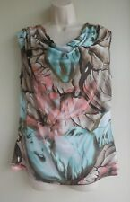 DRESS BARN Top Blouse Size Medium Butterfly Wings Green Brown Pink