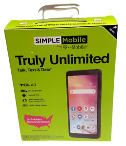 """Simple Mobil Alcatel TCL A3 32GB Black 5.5"""" Display, Android 11.0 Prepaid phone"""