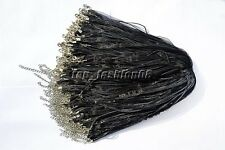 wholesale 20pcs Black Organza Ribbon Necklace Silk Cord Clasp 450mm FREE