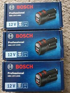 Bosch Professional GBA 12V 2.0Ah.x3 bundle of 2 Bosch batteries.Brand new.