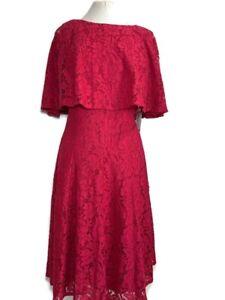 Maison Tara Lace Dress Attached Capelet Dark Pink Burgundy US16W Size UK Size 20